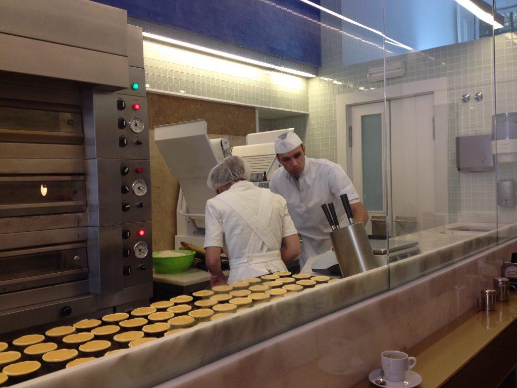 custard tarts being made at manteigaria café
