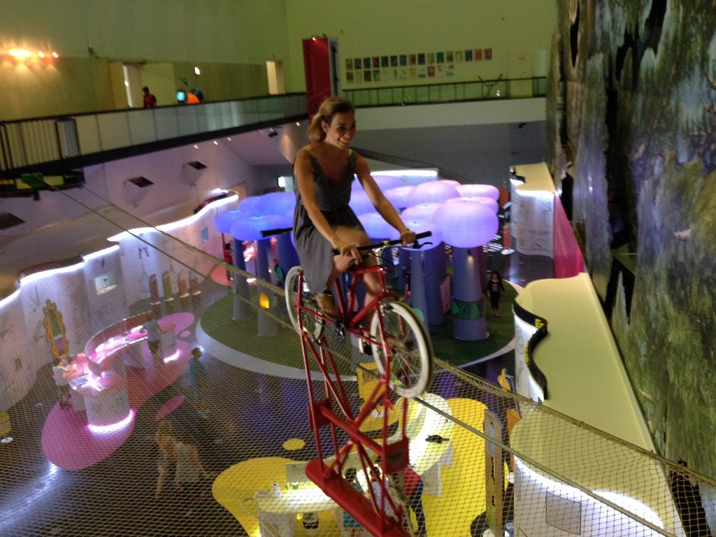 What to do in Lisbon: riding a suspended bike at Pavilhao do Conocimento
