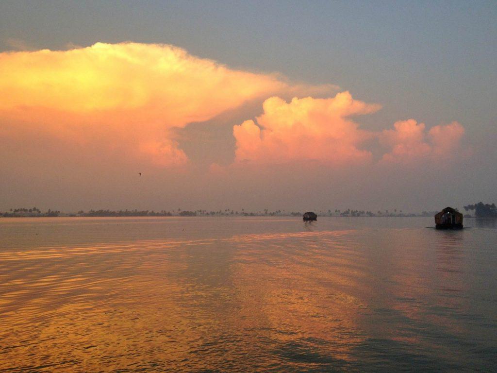 Sunrise in Kerala backwaters