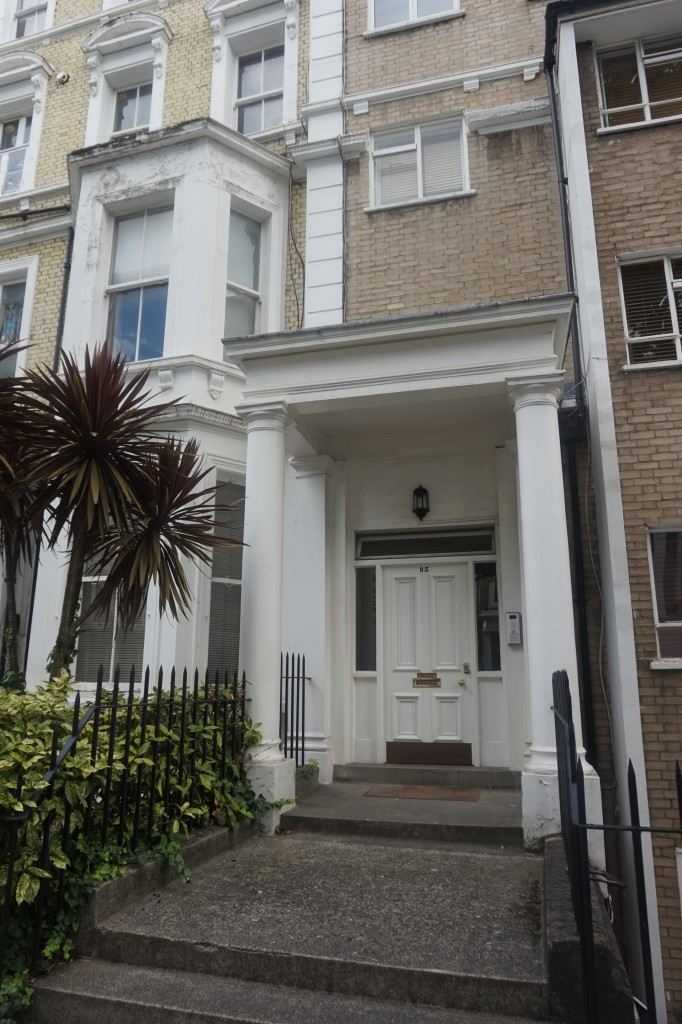 The apartment is inside a Victorian house in a quiet, leafy street