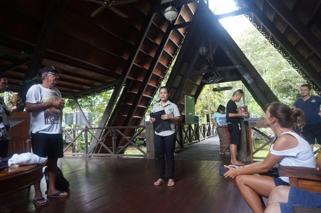 One of the lobbies at Sukau Rainforest Lodge