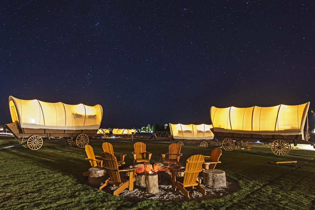 12 Epic Glamping Destinations in the USA : Conestoga Ranch in Bear Lake Valley, Utah. Photo by Conestoga Ranch