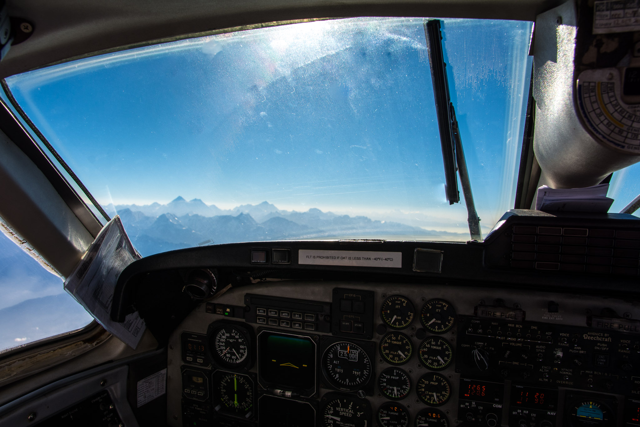 Frontal view from teh cockpit - Mountain Flight in Nepal