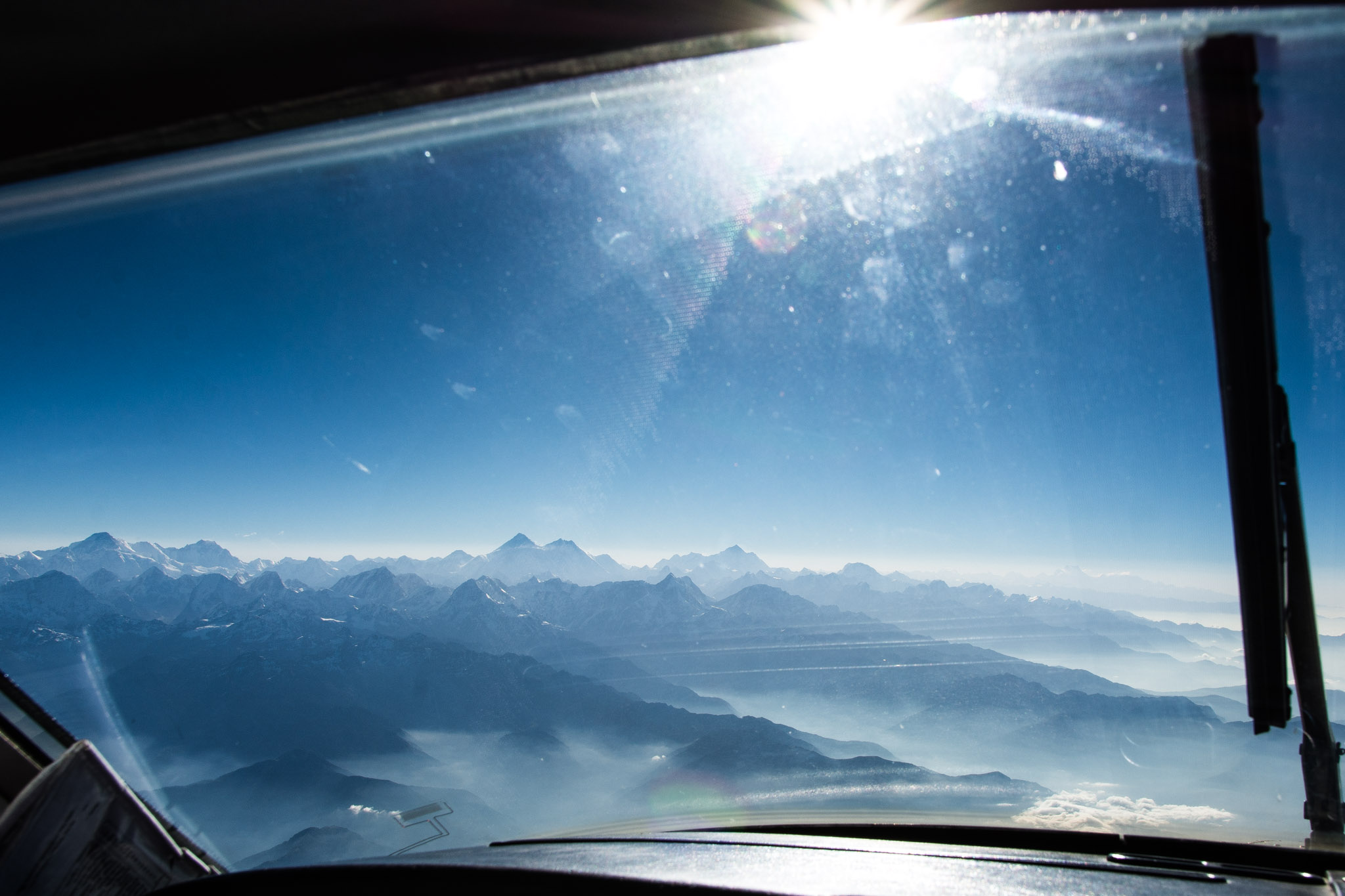 Frontal view from the cockpit - Mountain Flight in Nepal